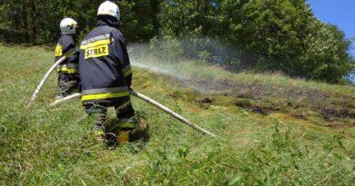 Pożar traw w Bielance