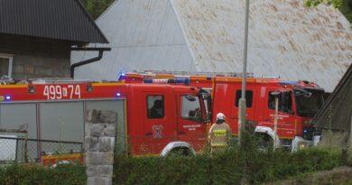 Nowy Targ. Pożar sadz w dawnym budynku prewentorium na os. Oleksówki