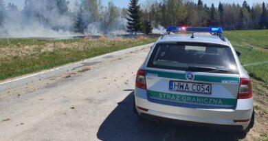 Ogień w okolicach byłego przejścia granicznego w Winiarczykówce