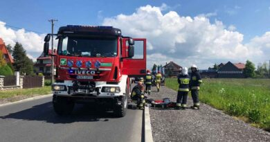 Upadek motocyklisty (zdjęcia)